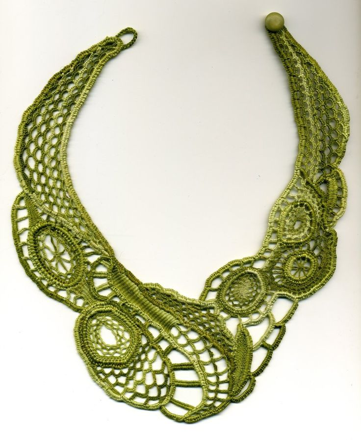 Needle lace necklace inspired by a design from Elizabeth Ellsworth. Made using the cordonnet method and embroidery cotton. Approx. 2 weeks work. NOT FOR SALE