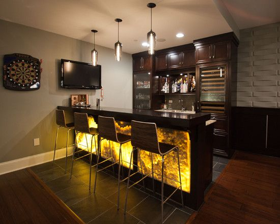 Captivating Traditional Basement With Amusing Bar Light Ideas Also Modern Bar Stool Design Also Black Tile Floor Combine With Brown Laminate Floo
