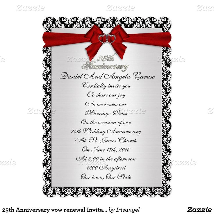 57 best 25th Anniversary Invitations customized images on – Invitation Cards for 25th Wedding Anniversary