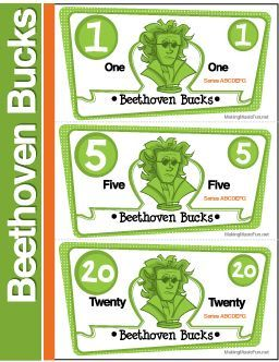 Beethoven Bucks | Music Student Incentive (Digital Print) - http://makingmusicfun.net/htm/f_printit_lesson_resources/beethoven-bucks-packet.htm