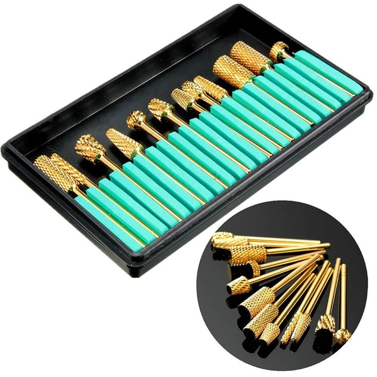 21.28$  Watch now - http://alijpx.shopchina.info/1/go.php?t=32815016025 -  Electric Nail Drill Bits File Grinding Head Set Electric Machine Gold Coated Carbide Manicure Care Tools Kits 12Pcs BN17  #magazineonlinewebsite