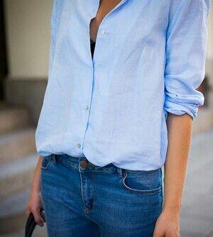 Shirt. Light Blue shirt & jeans.