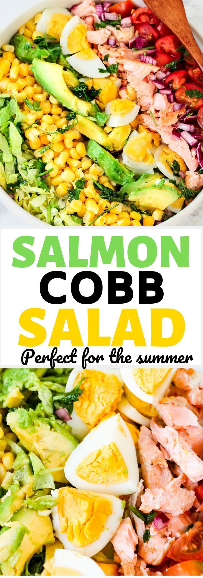 A fresh, delicious salmon Cobb salad with creamy avocado, juicy tomatoes, fresh … – Amazing Seafood Recipes