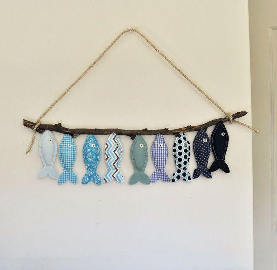 Nueve peces azul decoración de la pared de por DarlingSavage