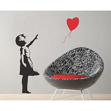 jiubai® Banksy ballon decalcomania della parete adesivo da parete gitl – EUR € 29.39