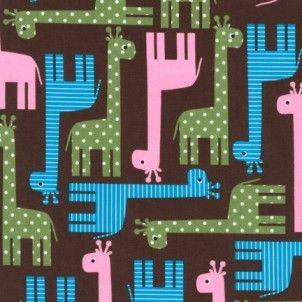 Robert Kaufman - Urban Zoologie Giraffes Garden cotton fabric