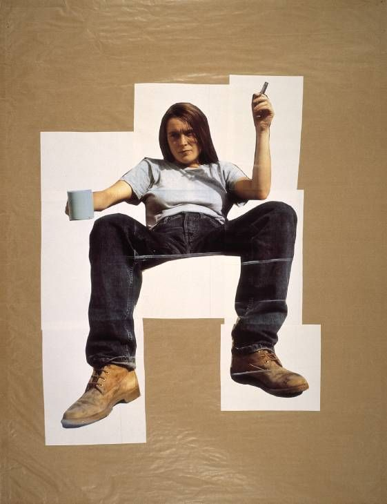 Sarah Lucas, 'Self Portrait with Mug of Tea' 1993 Julia Adekunle is looking at this work from Sarah Lucas because she is fascinated by how this artist portrays herself in this image. Looking very manly, the artist questions female stereotypes. This relates Julia's research on how women portray themselves and question how much freedom do women really have now.