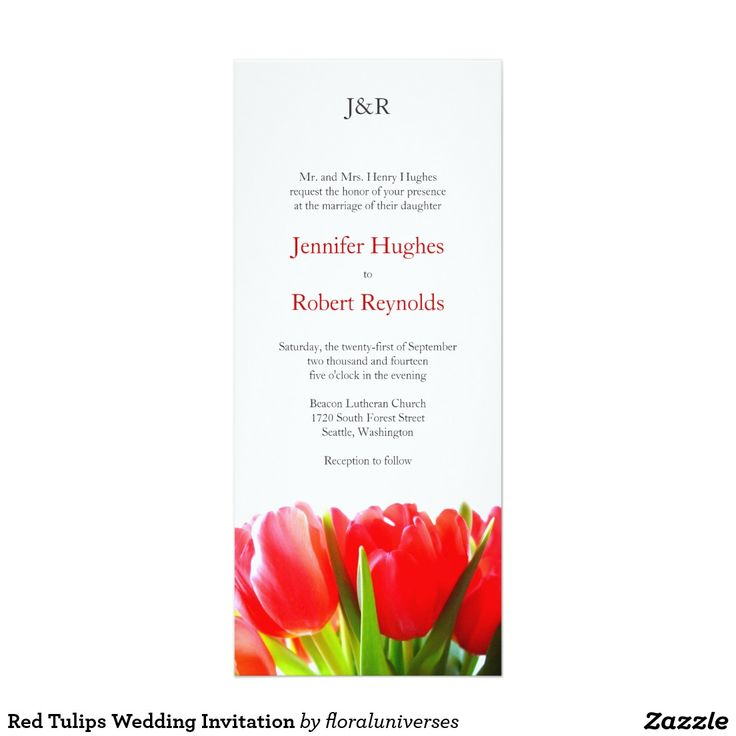 Red Tulips Wedding Invitation