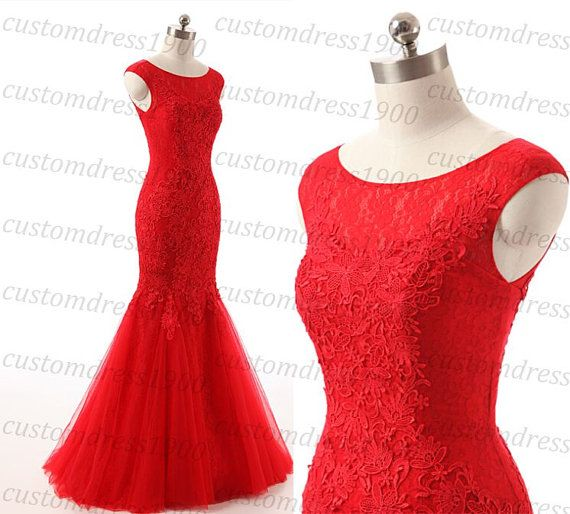 Red Long Prom Dress Handmade Lace Tulle Cap by customdress1900