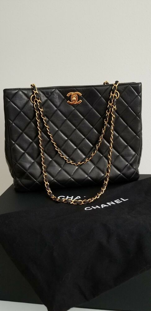 faf9cbcec980 AUTHENTIC CHANEL TIMELESS QUILTED BLACK LAMBSKIN CHAIN SHOULDER TOTE BAG  VINTAGE