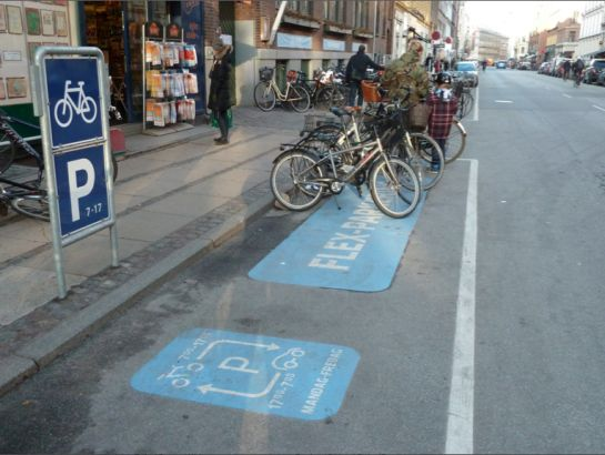 Flex Parking: Bikes during the day; Cars at night