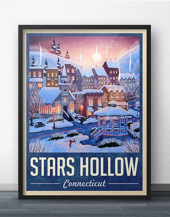 Can you imagine drinking hot chocolate (aka ho-cho) and getting cozy next to a toasty fireplace this winter? As Lorelai would say, isnt everything magical when it snows? This is a limited edition winter version of the Stars Hollow Travel Poster. Gilmore Girls does such a wonderful job of representing seasons on the show that I was inspired to design this snow-filled version for fans to swap out with the original poster, just in time for the cold weather!  Although this fan artwork was meant…