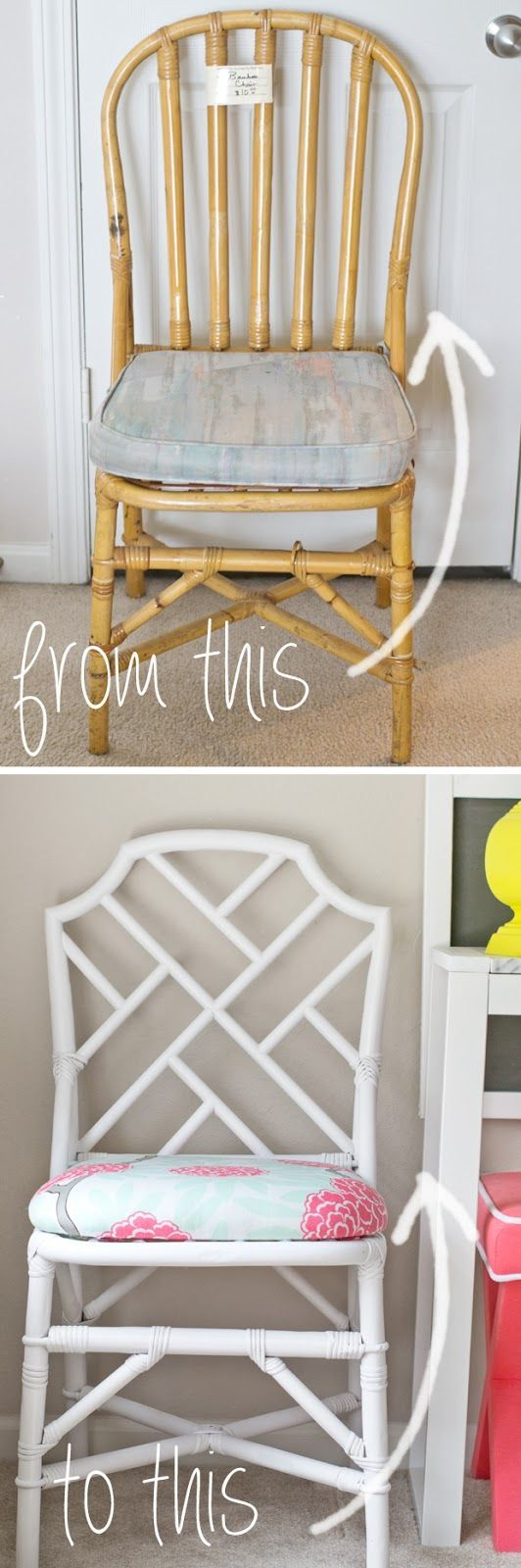 Bamboo chippendale chairs - Sarah M Dorsey Designs Plain Rattan Chair To Chinese Chippendale Chair