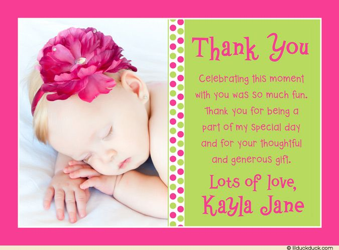 baby thank you card messages girl dots thank you card baby photo deep pink