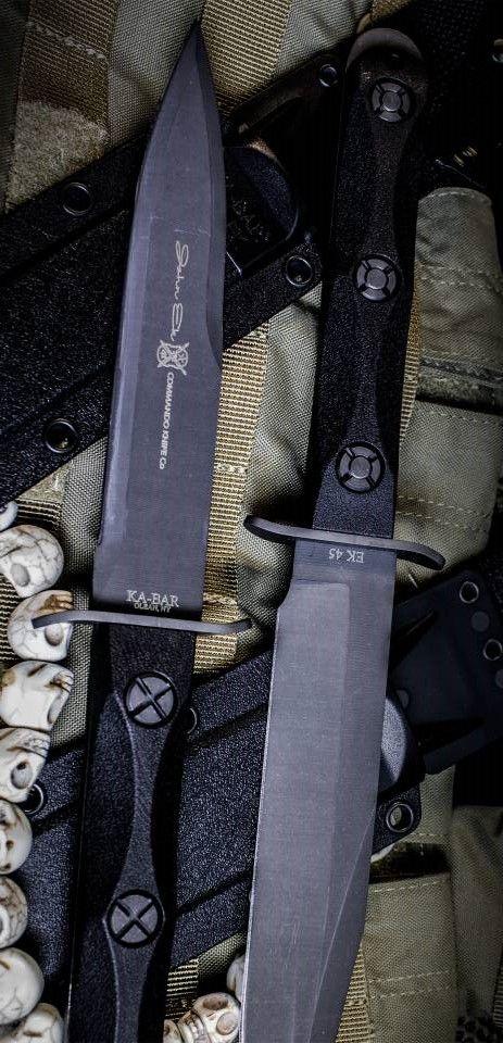 Ka-Bar John Ek Commando Fixed Tactical Knife Blade Co. - EK44 a 6.625 inch 1095 Cro-Van Steel Blade sets in a Glass Filled Nylon Handle