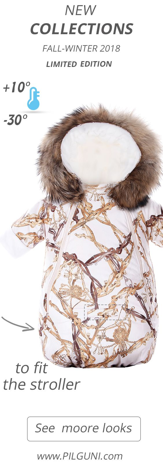 #Stroller bunting and #footmuff #Shop. #Designer #baby #brand!  #Pilguni.com #online #superstore.  HORSES Baby Sleeping bag with sleeves | 1. Ecru/ Natural Raccoon 104 EUR  Магазин. Дизайнерская #одежда для# детей и #беременных женщин розничной продажи! Pilguni.com #интернет #магазин. #Конверт для #новорожденных #2017-2018