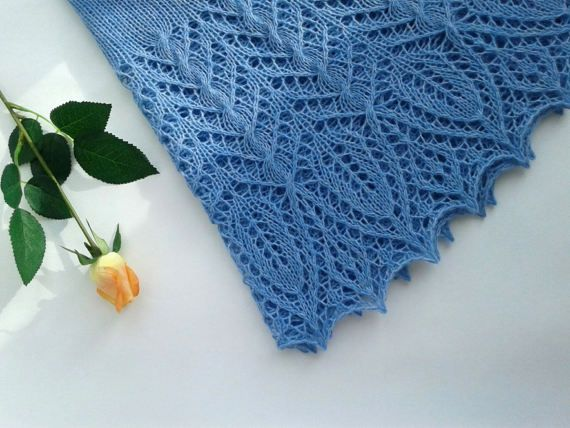 Shawl Lace Knitted Wool Crescent Shaped Light Blue Cable Women