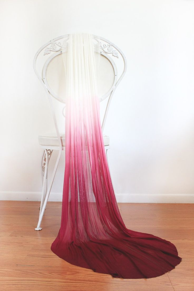 Ballet length dip-dyed veil in wine. Silk tulle veil hand dyed. See more here: http://kerryannstokes.com/shop
