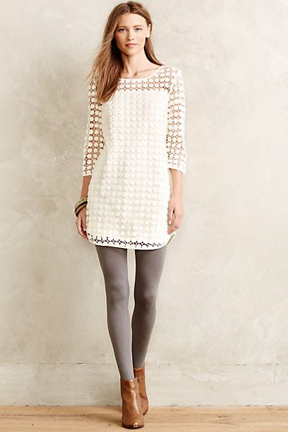 love the color combo of the tan leather booties & grey tights, with the white
