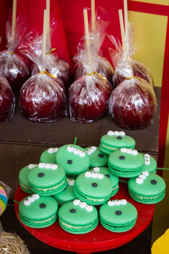 Alien macarons at a Toy Story birthday party! See more party ideas at CatchMyParty.com!
