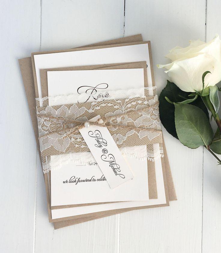 Rustic Lace Wedding Invitations. Lace Wedding Invitation. Country Wedding. kraft Wedding Invitation, Wedding Invitation Suite, Depos by LoveofCreating on Etsy https://www.etsy.com/listing/205659144/rustic-lace-wedding-invitations-lace