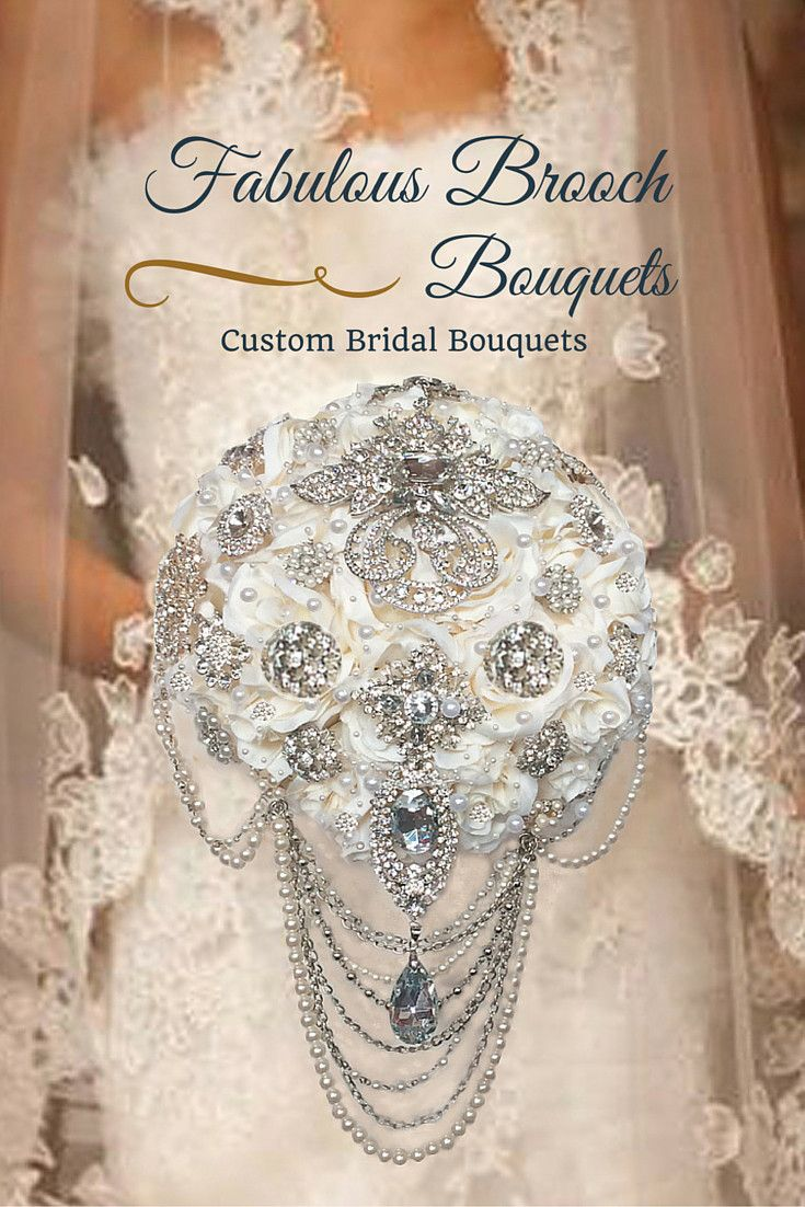 Elegant Cascading Brooch Bouquet, Cascading Brooch Bouquet, Wedding Bouquet, What a great way to use your grandmother's jewelry.