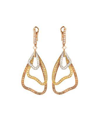 Luca Carati 18k Gold Drop Earrings w/ White, Yellow & Brown Diamonds