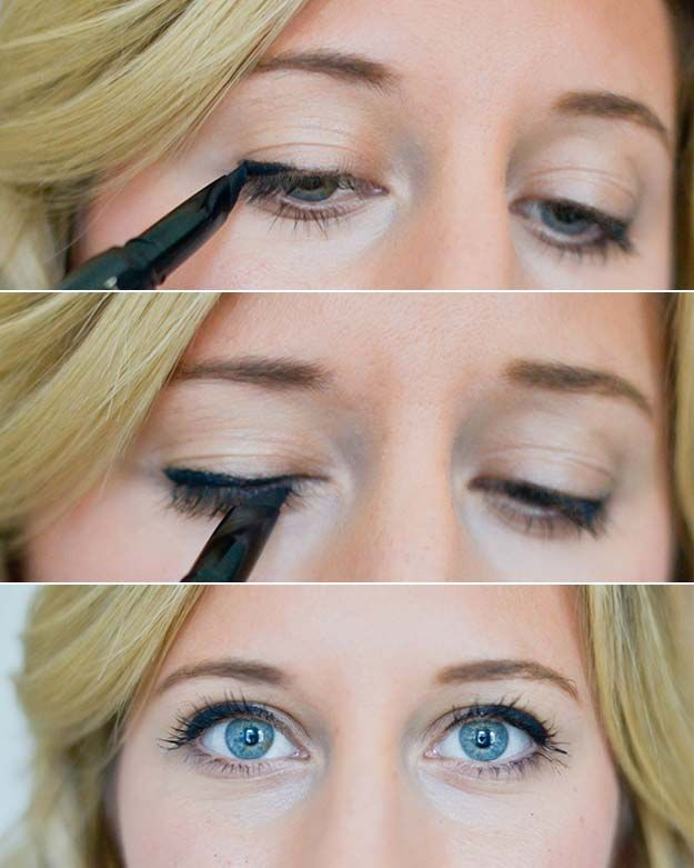 Winged Eyeliner Tutorials - Gel Eyeliner: Three Ways- Easy Step By Step Tutorials For Beginners and Hacks Using Tape and a Spoon, Liquid Liner, Thing Pencil Tricks and Awesome Guides for Hooded Eyes - Short Video Tutorial for Perfect Simple Dramatic Looks - thegoddess.com/winged-eyeliner-tutorials