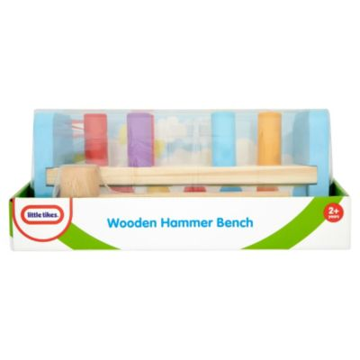 Little Tikes Wooden Hammer Bench 52303/52303A Bash, bash, bash! Well hammer the pegs through the holes, then flip it over and do it all again.Features different coloured pegs to match the different coloured holes.Strong wooden hammer and bench de http://www.comparestoreprices.co.uk/childs-toys/little-tikes-wooden-hammer-bench-52303-52303a.asp