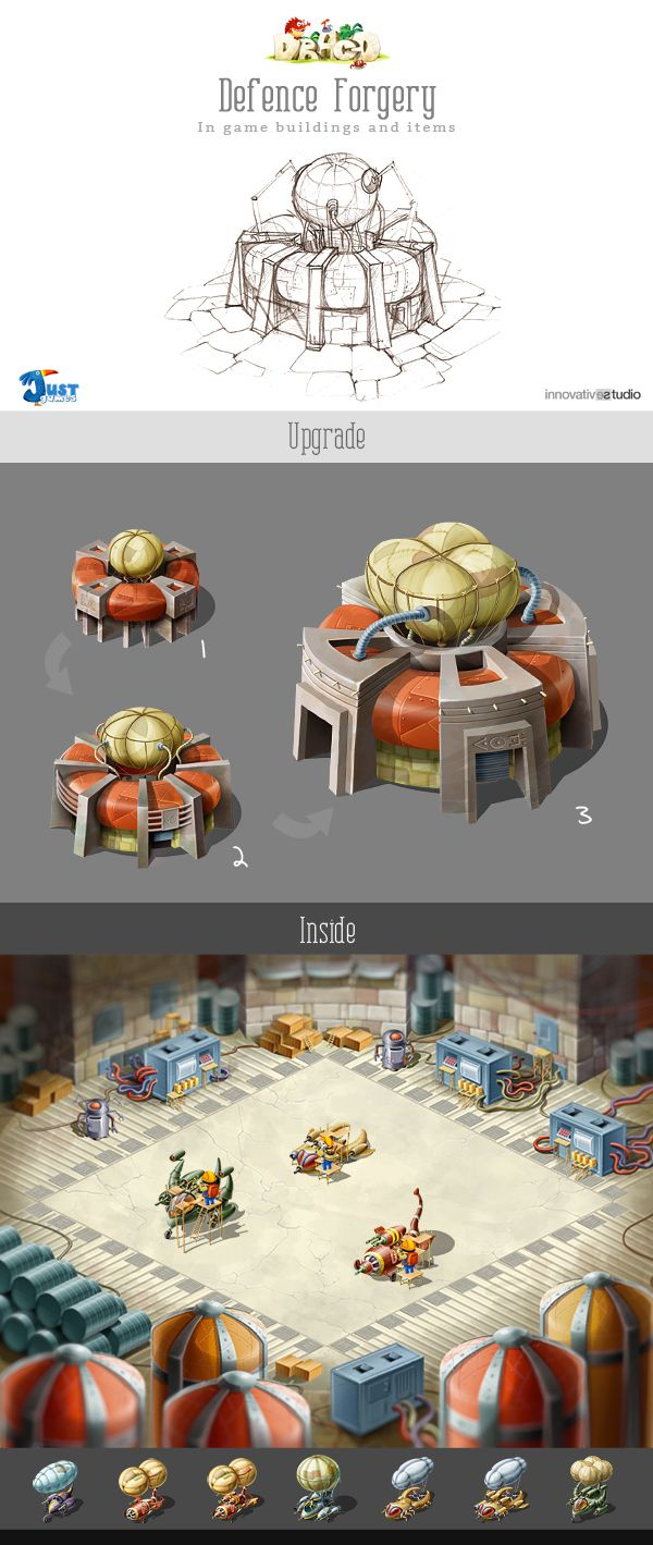 Defence Forgery: In game buildings and items by Just Games, via Behance