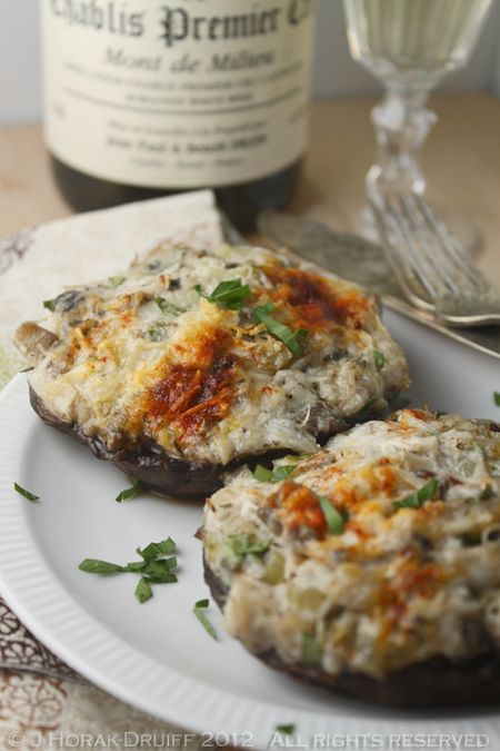 CRAB-STUFFED PORTOBELLO MUSHROOMS  (thinking I might add some buttered panko crumbs to the top of these before baking for just a little bit of crunch)