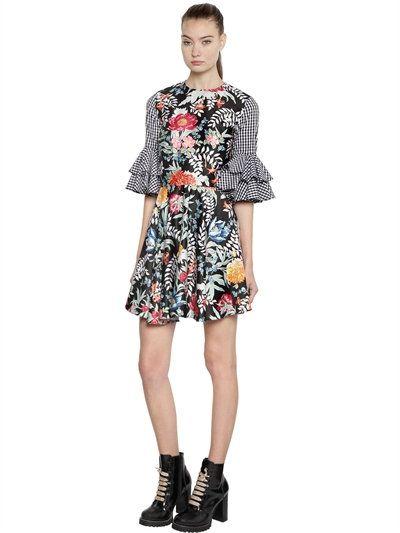 HOUSE OF HOLLAND - FLORAL SATIN & GINGHAM MINI DRESS - DRESSES - BLACK/MULTI - LUISAVIAROMA - 417€