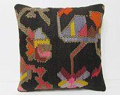 20x20 kilim pillow 20x20 large kilim rug large cushion cover oversized decorative pillow big kilim pillow large sofa pillow black rug 24537