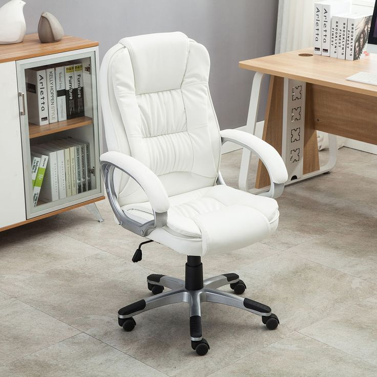 White PU Leather High Back Office Chair Executive Ergonomic Computer Desk Task #Onebigoutlet #OfficeChair