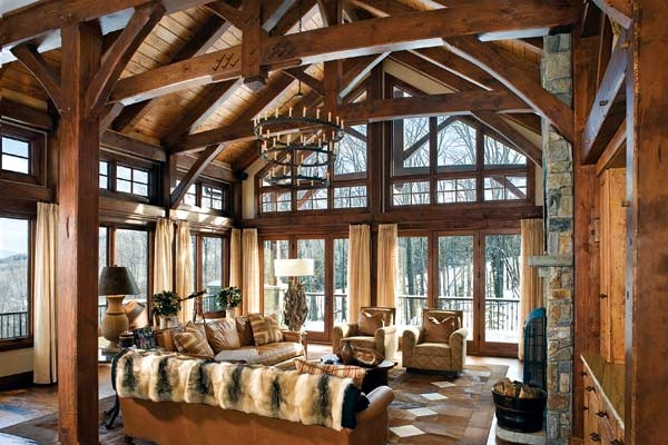 17 best images about timber home great rooms on pinterest for Timber frame great room
