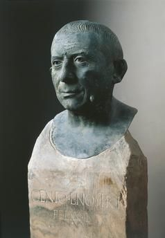 Italy, Campania, Pompeii, Bust of Lucius Caecilius Iucundus, banker, bronze 1st Century A.D., Italy, Naples, Museo Archeologico Nazionale
