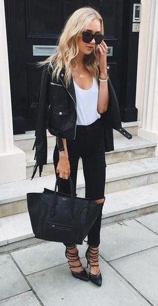 #fall #fashion / leather jacket