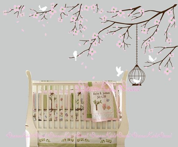 Tree wall Decal Wall Sticker Baby Nursery Decals-Cherry Blossoms Tree Decal-DK098 on Etsy, $69.00