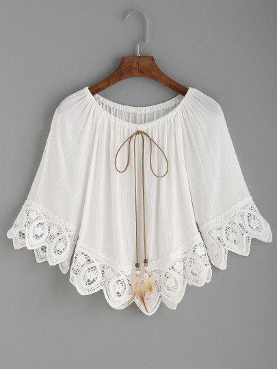 Top crochet escote con cordones hombro al aire-Sheinside