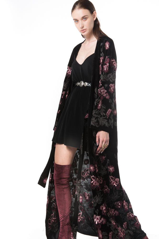 mystery velvet embroidered wrap dress  - Outerwear - NIDODILEDA