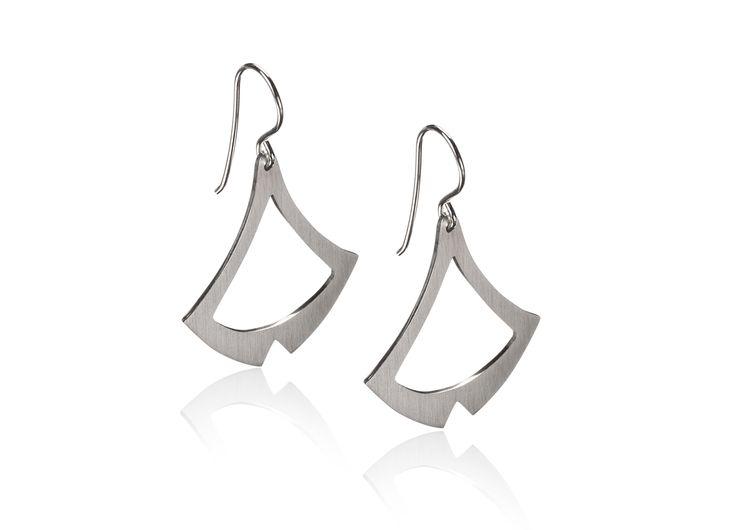 Sail earrings; Scandinavian design handmade in sterling silver