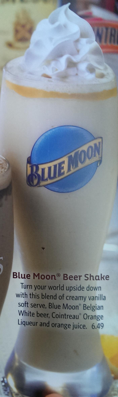 Blue Moon Beer Shake - vanilla ice cream, Blue Moon beer, and Cointreau orange liqueur