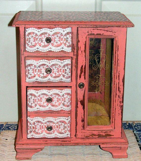 Refurbished upcycled Jewelry Box Peach Pink by retrosideshow, $45.00