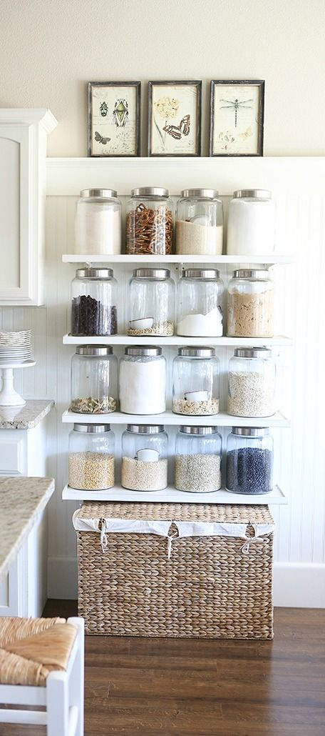 We love the look of exposed shelving that showcases your cooking and baking essentials in clear canisters! With this collection of 23 Rustic Farmhouse Decor Ideas you're sure to get inspired to keep your kitchen organized and update its design in one fell swoop.