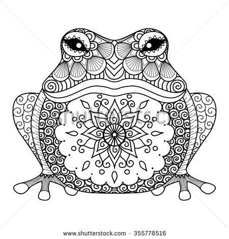 Hand drawn zentangle frog for coloring book for adult, shirt design - stock vector