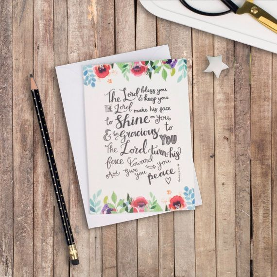 The Lord Bless You Floral A6 Izzy & Pop Card - Christian Cards - Floral Cards - Encouraging Card - Blessing Card - Card for a Friend