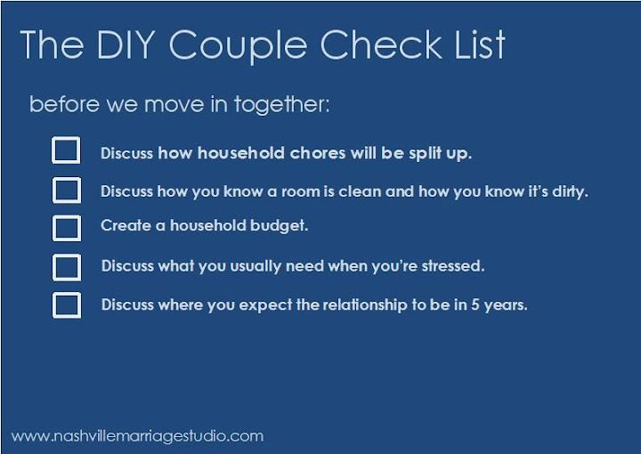 A checklist for your relationship before you move in together.
