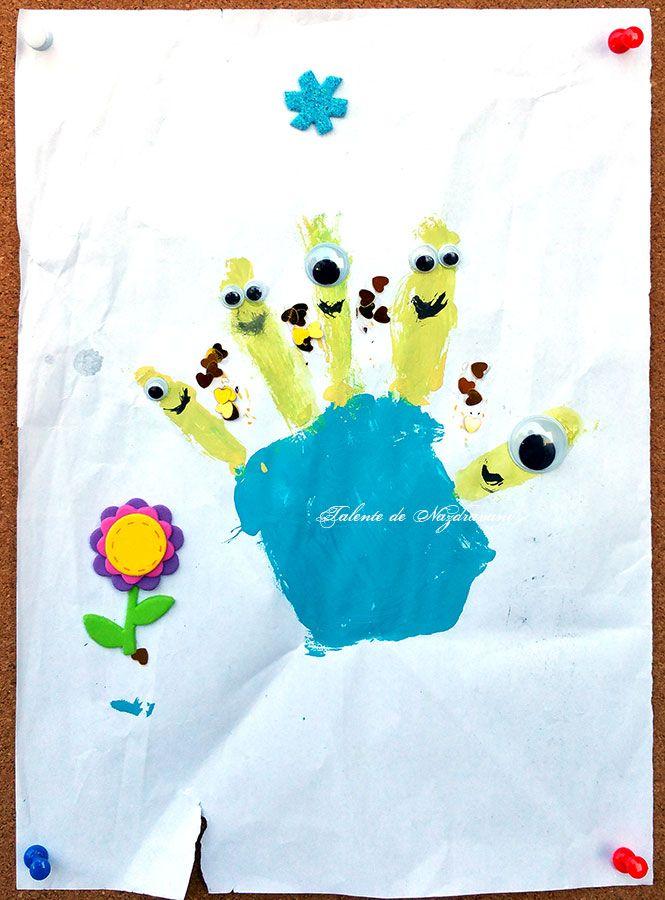 Minioni pe degete realizați de Talente de Năzdrăvani. Produse utilizate: Ochi mobili și Flori-flu DACOart, Acuarele tempera DACO. ARTICOL BLOG: http://talentedenazdravani.eu/blog/2016/09/06/dactilopictura-minioni-degete/