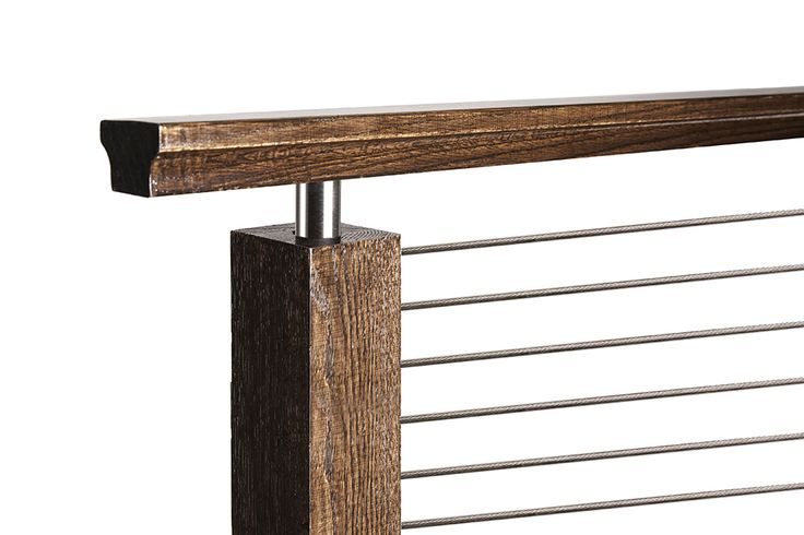 This design was created with an Ironwood Connection cable rail kit. This staircase uses marine grade stainless steel cable rail, and was installed with the inside to inside level/balcony kit. This install pairs the stainless cable with the 4000 series modern newel post with a round bar bracket style. We offer parts, install services, and custom components throughout Texas. Click the image for more information.