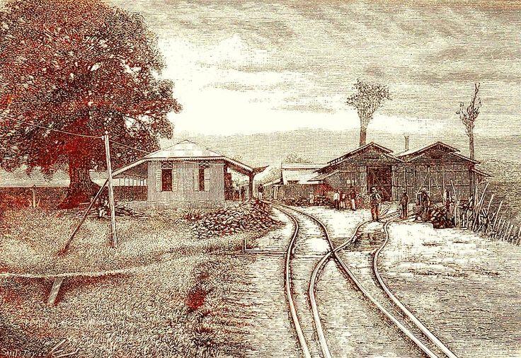Lukisan stasiun kereta api di pintu masuk Kraton Kutaraja, karya Eigen Haard, tahun 1881